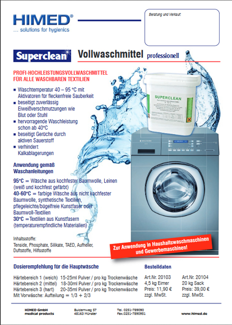 Produktinformation Superclean Vollwaschmittel